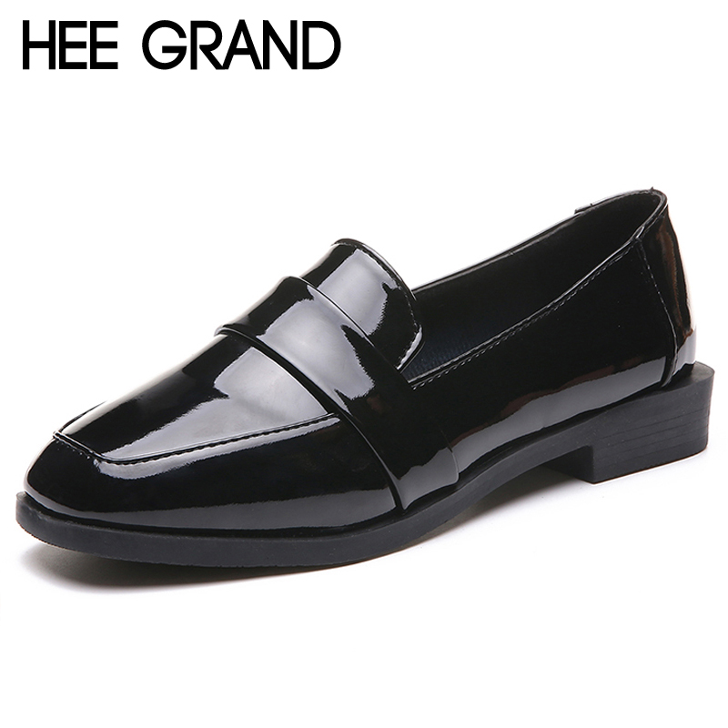 HEE GRAND 2018 New Oxfords Platform Shoes Woman Casual Loafers Square Toe Women Brogue Shoes Slip On Shallow Flats XWD6761 hee grand pearl ballet flats 2017 crystal loafers bling slip on platform shoes woman pointed toe women shoes size 35 43 xwd4960