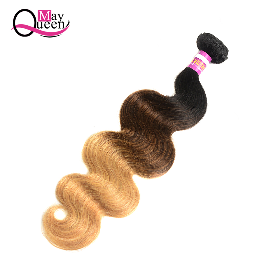 May Queen Hair Brazilian Body Wave 1B/4/27 Ombre Human Hair Weave Bundles 1pc Remy Hair Extension