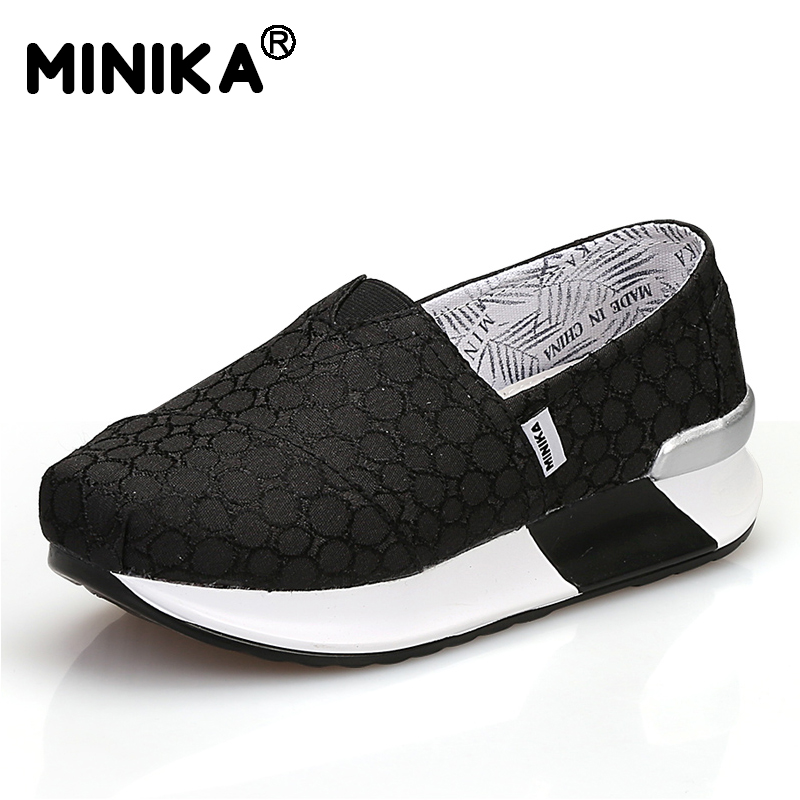 Minika Platform Casual Canvas Shoes Woman Breathable Slip On Flats Comfortable Soft Light Walking Shoes Zapatos Chaussures vintage embroidery women flats chinese floral canvas embroidered shoes national old beijing cloth single dance soft flats