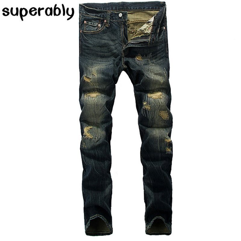 Men`s patchwork Jeans slim straight denim Moto biker jeans masculino trousers brand superably jeans ripped dark jeans men U329