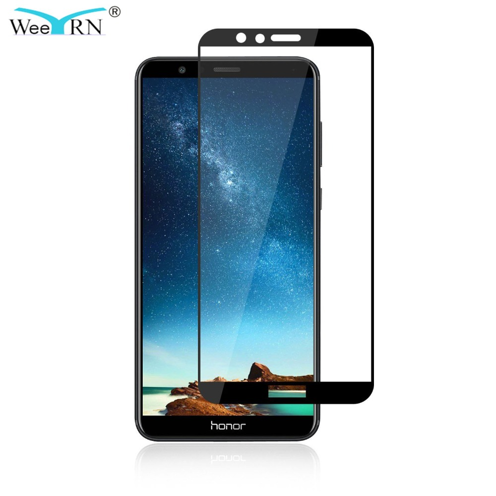 Galleria fotografica WeeYRN 9H2.5D Full Coverage Protective Glass for Huawei <font><b>honor</b></font> <font><b>7X</b></font> Tempered Glass Screen Protector for Huawei honor7X Honor7x Flim
