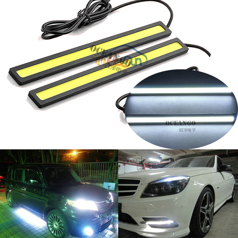 2Pcs 2017 update Ultra Bright LED Daytime Running lights DC 12V 14cm Waterproof Auto Car DRL COB Driving Fog lamp car styling