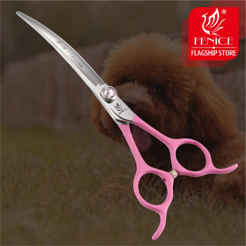 """Fenice Pink Pet Grooming Scissors 6.5"""" Japan 440c Stainless Steel Dogs Curved Trimming Shears for Pet Magasin Grooming Scissor"""
