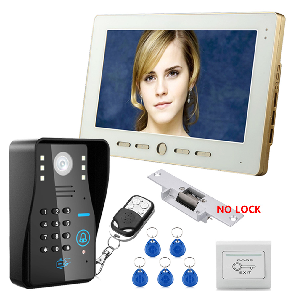10  RFID Password Video Door Phone Doorbell Intercom System With IR Camera 1000 TV Line With NO-Electric Strike Door Lock 10  RFID Password Video Door Phone Doorbell Intercom System With IR Camera 1000 TV Line With NO-Electric Strike Door Lock