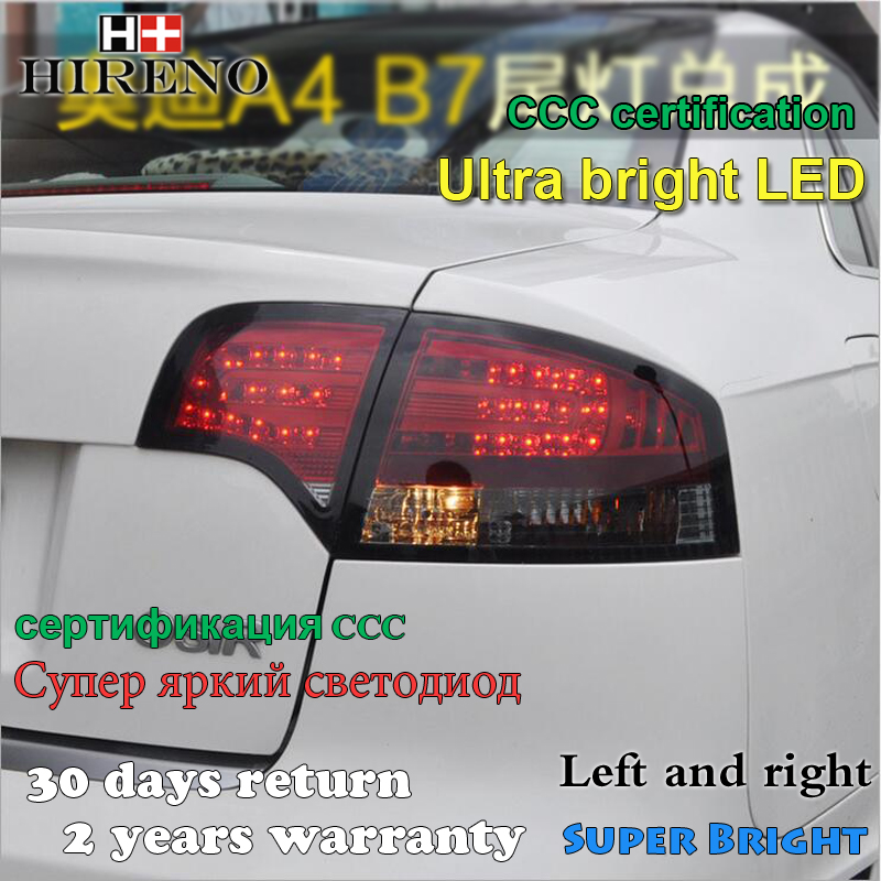 Hireno Tail Lamp for Audi A4 B7 2005 2006 2007 2008 LED Taillight Rear Lamp Parking Brake Turn Signal Lights free shipping for skoda octavia sedan a5 2005 2006 2007 2008 left side rear lamp tail light