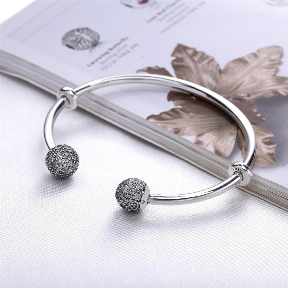 New Authentic 925 Silver Moments Open Pave Endcaps CZ Clear Crystal Bangle Original Bracelet Fit For European DIY Beads