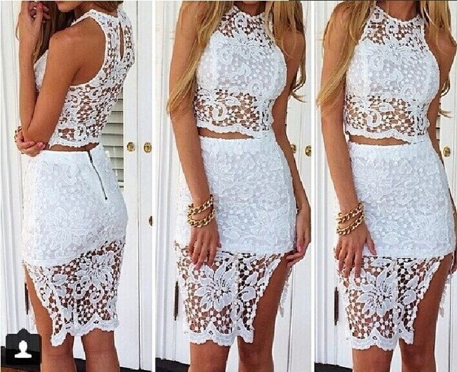 skirts suit sexy club beach casual party elegant mini white sleeveless gatsby  lace floral irregular shorts 2018 women summer