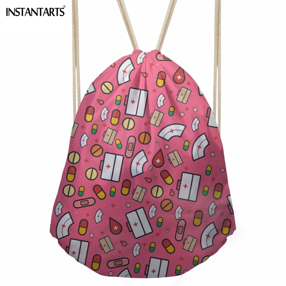 INSTANTARTS  Funny 3D Cartoon Nurse Printing Women Drawstrings School Students Storage Backpacks Softback Teens Girls Beach Bags