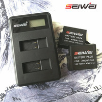 SEIWEI Original Mini Portable Li Ion Battery LCD USB Dual Charger Kit For GoPro5 With 2