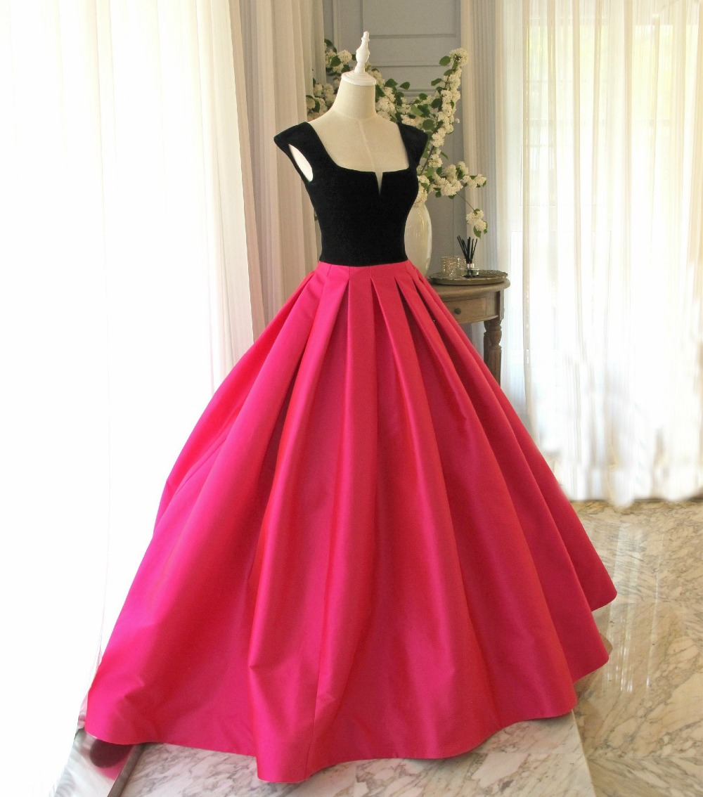 Fuchsia Gown: Hot Pink And Black Plain Gown Medieval Dress Long Gown