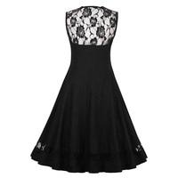 Sisjuly Women S Vintage Dress Lace Dress Female Sleeveless O Neck Slim Sexy Robe Casual 1950s