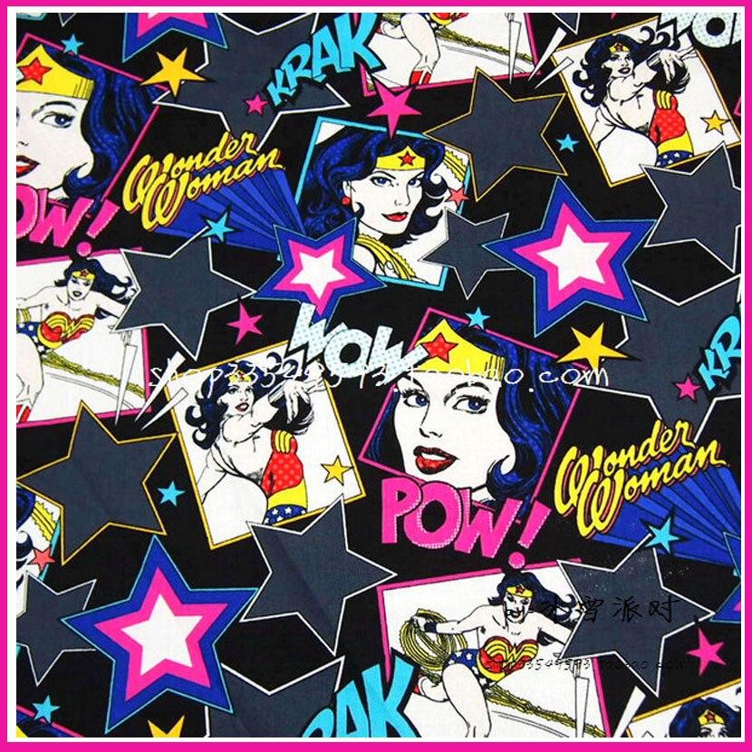 140*50cm 1pcs Wonder Woman Print Fabric 100%Cotton Fabric Wonder Woman Printed Cotton Fabric Sewing Material Diy Woman Clothing