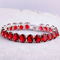 Luxuriant Gorgeous Garnet  Silver Bracelets Fashion Jewelry Stylish Showy For Women Party Wedding Wholesale