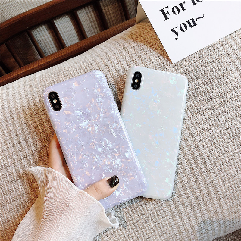 ELALA Glossy Marble Case For Iphone 6 7 8 Plus X XS Max XR Bling  Conch Shell Epoxy Silicone Glitter Soft TPU Cover For IPhone 7