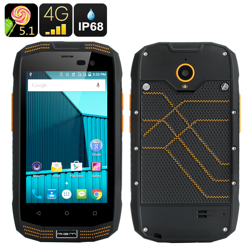 Téléphone étanche d'origine AGM A2 téléphone portable antichoc anti-poussière Qualcomm Quad Core Smartphone Android téléphone robuste 4G LTE GPS 2 GB
