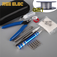 REE ELEC DIY Tools Kit Coil Jig Organic Cotton Ceramic Tweezers Heating Wire Ect Electronic Cigarette