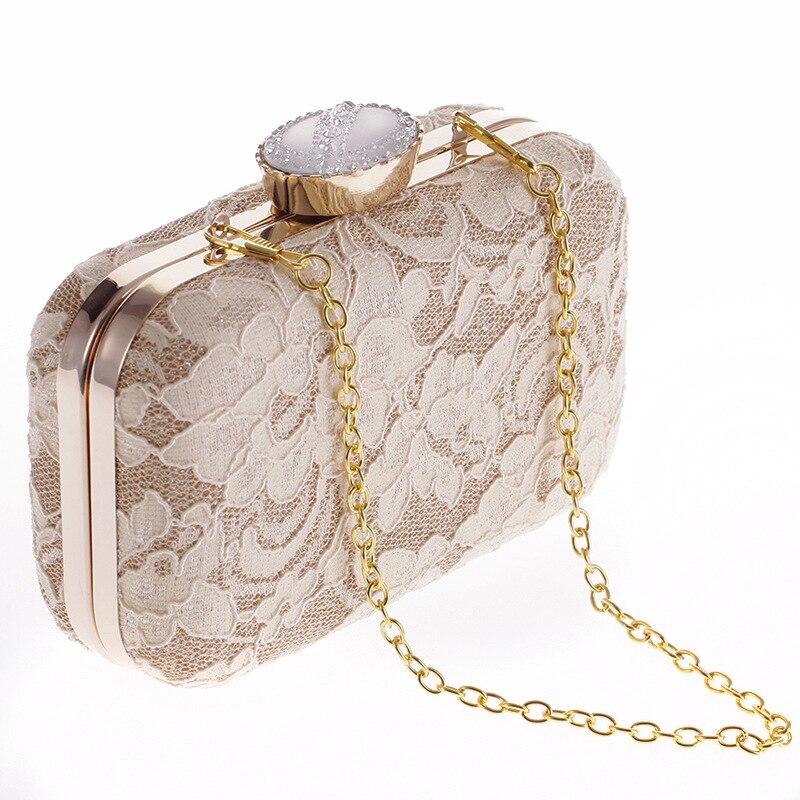 2017 New Women high quality Elegant Fashion Bag Lace Dinner Wedding Bridal Party Hand Bag Fashion Clutch Evening Bag Purse for