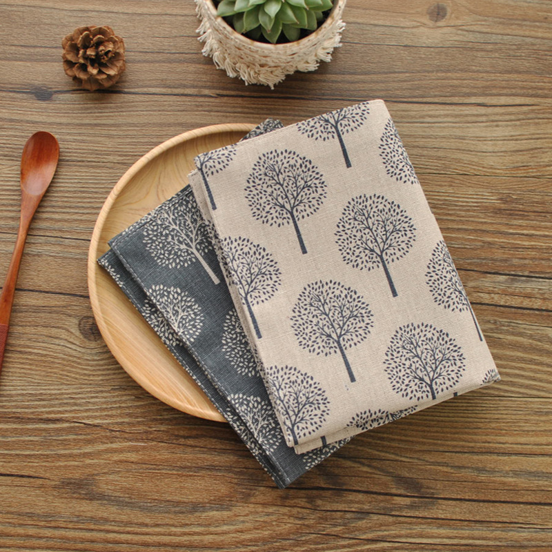 Japanese Zakka Style Placemats For Dinner Tables Cotton Plant Printed Napkin Washable Pads For Home Decoration