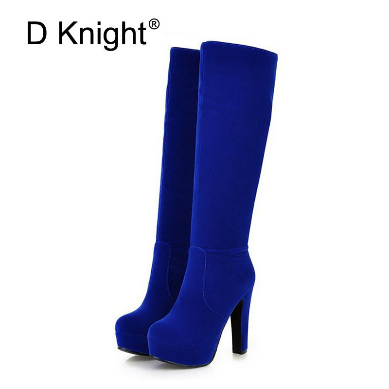 High Heel Boots Female Platform Knee High Boots Women Zip Square Heels Round Toe Black Red Blue Brown Shoes Woman Big Size 32 45