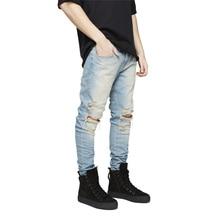 Distressed Hole Biker Jeans Mens Slim Blue Gray Black Ripped Jeans For Men Hip Hop Streetwear Trousers Straight Designer Pants