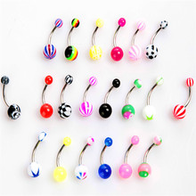100 pcs/bag New Colorful Acrylic Colorful Ball Medical Steel Belly Button Ring Dangle Navel Body Jewelry Piercings 60 pcs lot high quality medical steel crystal rhinestone belly button ring dangle navel body jewelry piercings tassel