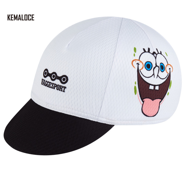 c54f0cfcca4 KEMALOCE Sublimated Single White Funny Smiling Face Cycling Cap Bicycle Cap