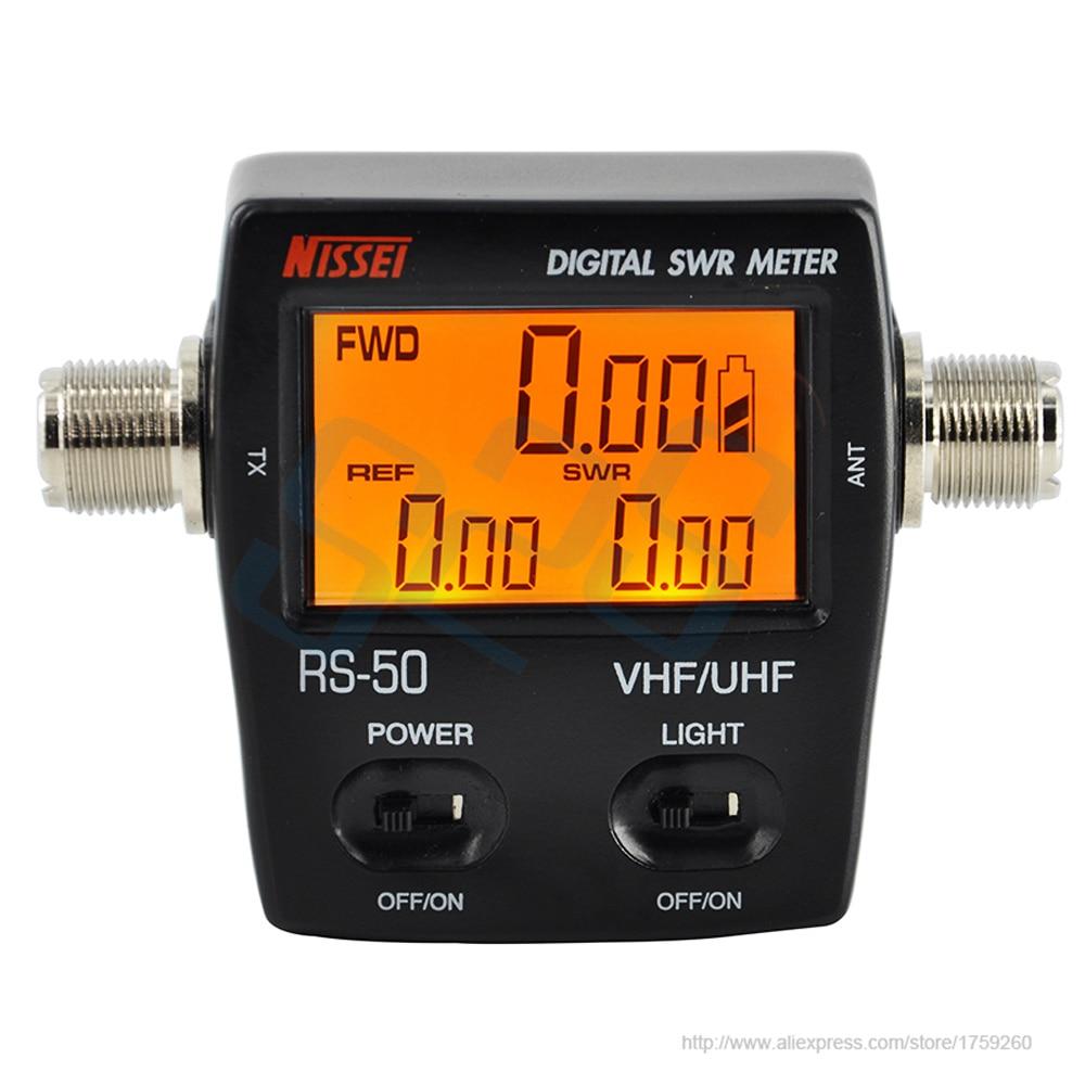 RS-50 SWR Digitais/NISSEI Medidor de Watt 125-525MHz UHF/VHF M Tipo de Conector para TYT Kenwood baofeng Rádio Contador De Energia Tela LED