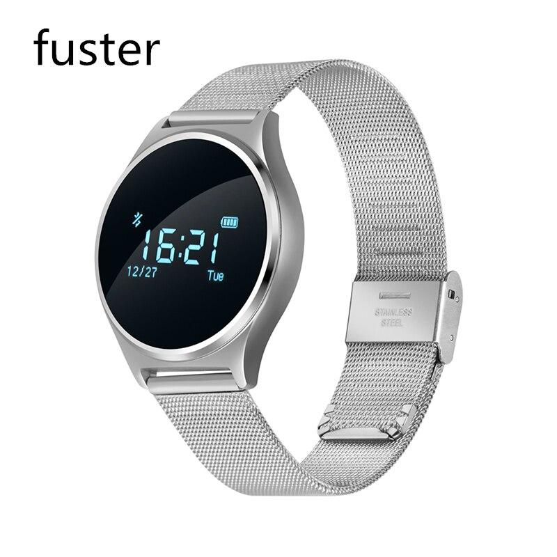 imágenes para Fuster Nueva Moda Elegante Reloj Negro, Oro, de plata con la banda de Acero o Correa de Cuero Ritmo Cardíaco Rastreador Smartwatch apoyo PB
