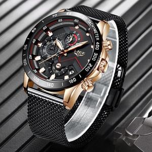 Image 1 - Lige relógios masculinos quartz, marca de luxo, casual, magro, malha de aço, à prova d água, esportivo, relógio 2019