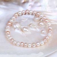 Top Quality  6-6.5mm semi-round  freshwater pearl bracelet elastic bracelet for girls