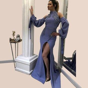 Hot Muslim Evening Dresses 2019 Mermaid High Collar Long Sleeves Pearls Slit Islamic Dubai Saudi Arabic Long Formal Evening Gown