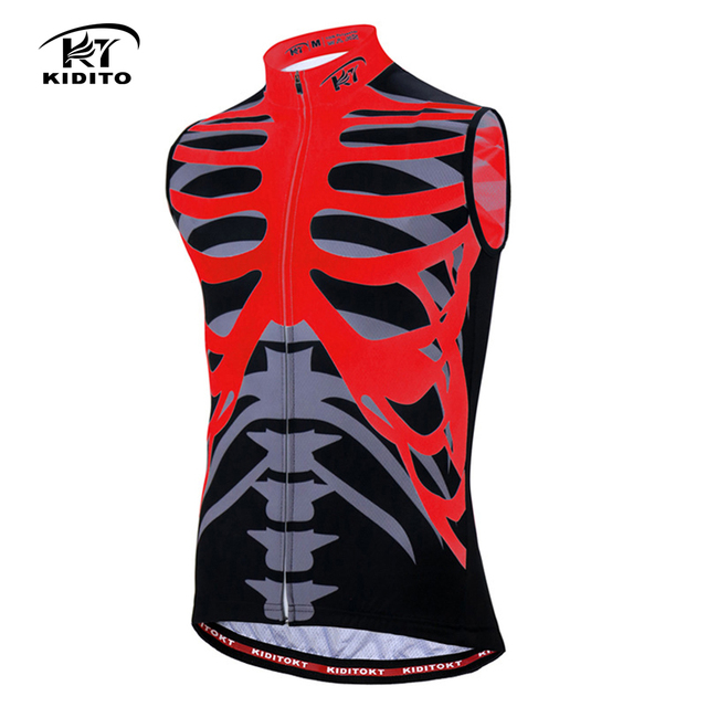 KIDITOKT Skeleton Printing Cycling Jersey Sleeveless 208 Pro Men Bicycle  Clothing Summer Men Quick Dry Polyester Sportwear 28ba68e39