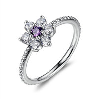 BK 925 Sterling Silver Finger Rings Forget Me Not Purple Clear CZ Ring Female Wedding Jewelry