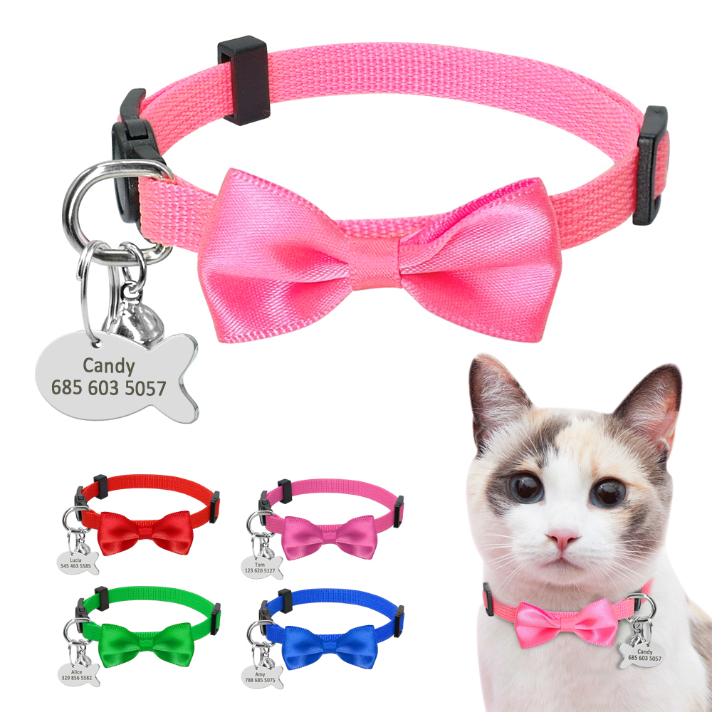 Quick Release Cat Collar Personalized Bownot Cat Dog Id Collars Durable Nylon Small Dog Cat Accessories With Custom Fish Tag