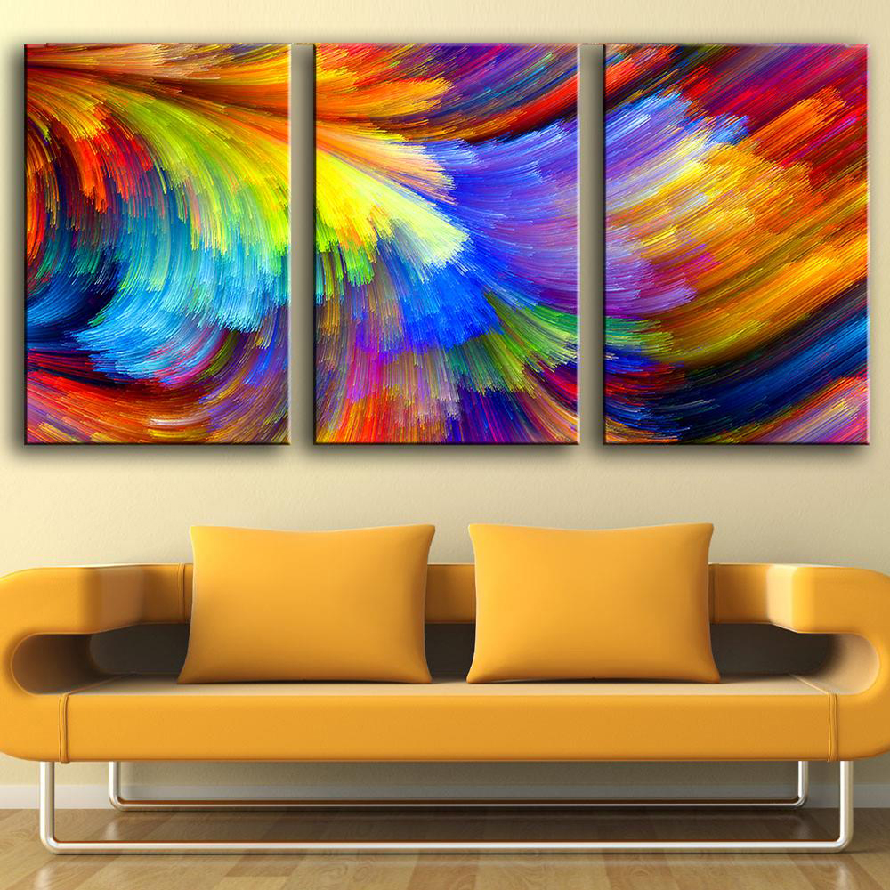 QKART Canvas Painting Wall Pictures 3 Panels colourful Rainbow Wall Pictures for Living Room Restaurant Posters And Prints