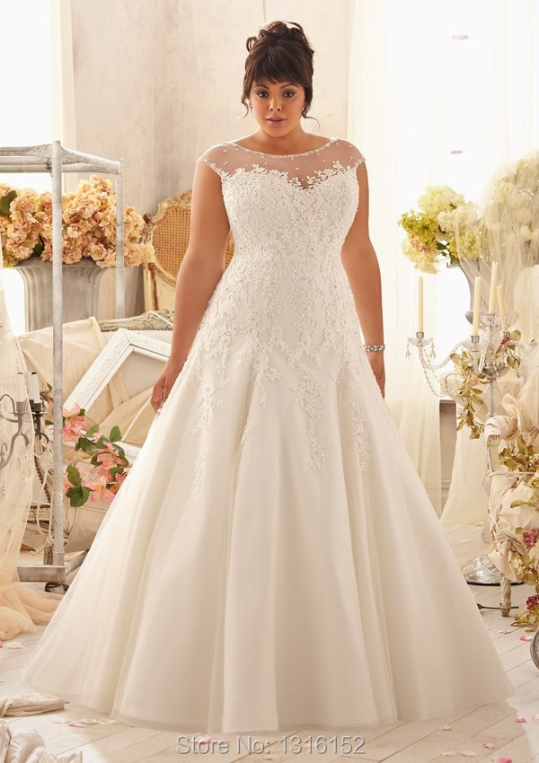 Free shipping new transparent cap sleeve turtleneck applique Wedding  Dresses bridal wedding dress custom size 4db434c21833