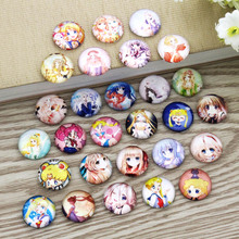 Cartoon Anime Round Photo Glass Cabochon Mixed Pattern Fit Base Setting For Jewelry Wholesale 10mm 12mm 16mm 18mm 20mm 25mm 9999