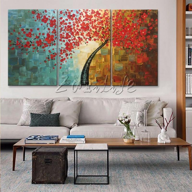 Canvas tree oljemålning 3 delar palettkniv 3D-textur röda blommor - Heminredning - Foto 2
