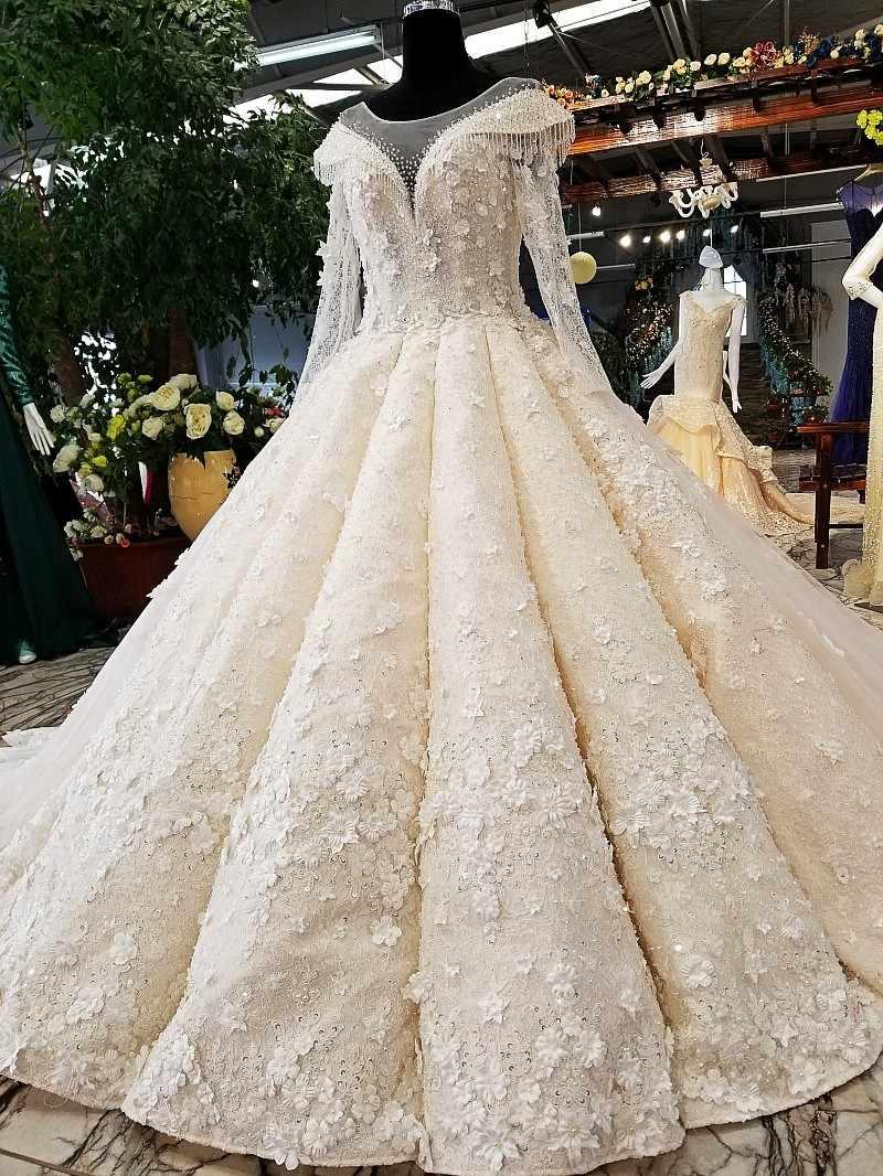 LS00460 3D свадебное платье с рукавамицветы свадебное платье O-образным вырезом длинные тюлевые рукава бальное платье зашнуровать вверх свадебное свадебное платье с длинным поездом как фотографии