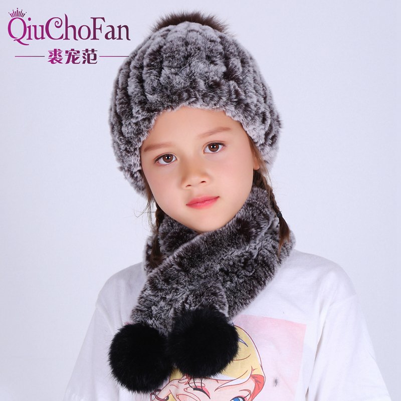 Children Autumn Winter Genuine Knitted Rex Rabbit Fur Sets Scarf With Hat Child Fur Scarves Pashmina Wraps