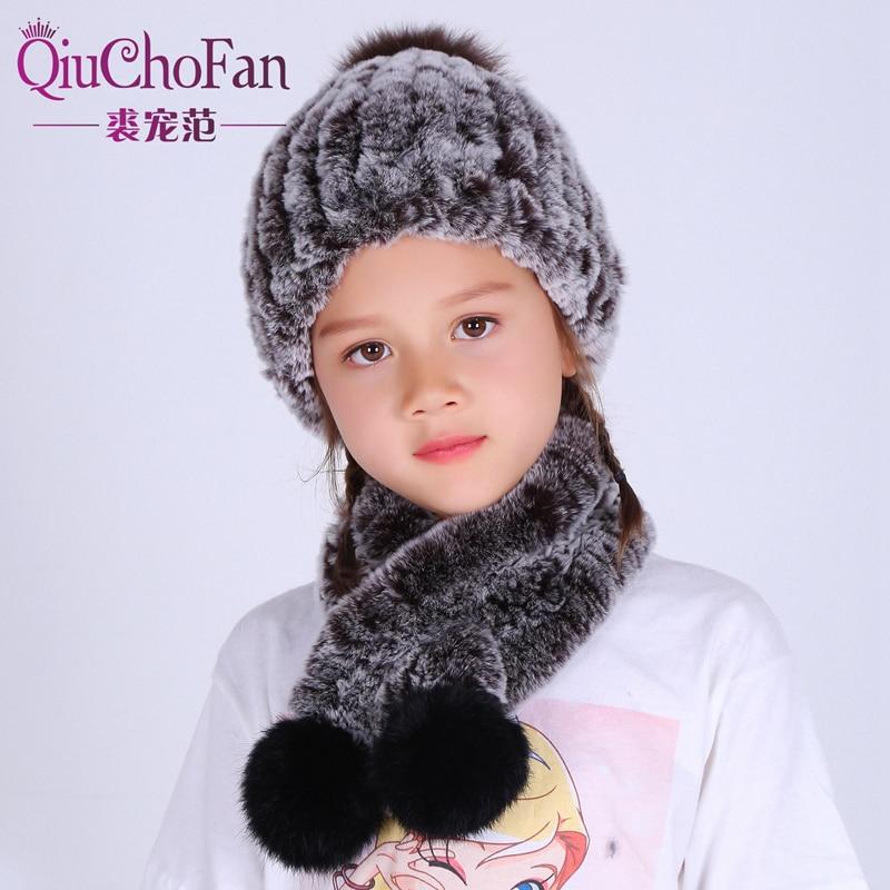 Children Autumn Winter Genuine Knitted Rex Rabbit Fur Sets Scarf With Hat Child Fur Scarves Pashmina Wraps