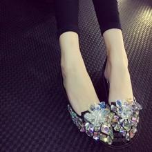 Reine Farbe Heißer Verkauf Glamour Kristall Lüften Schaffell Frauen Schuhe Wohnungen Ankunft Kleid Slip On Schuhe Stilvolle Weichen Leder