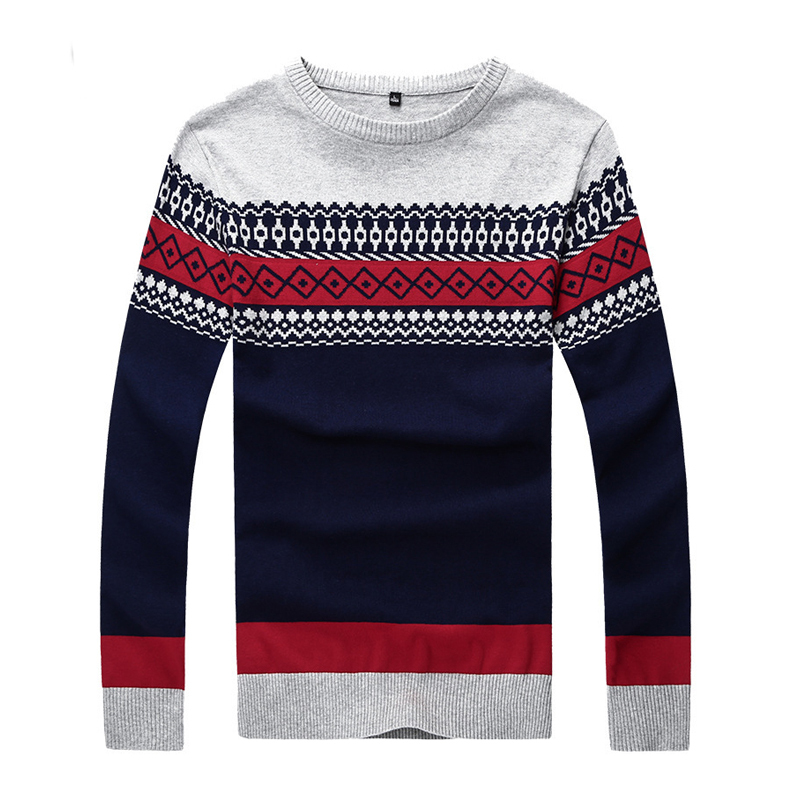 2015 Korean Pullovers Jacquard Mens Sweater Warm Fashion Designer