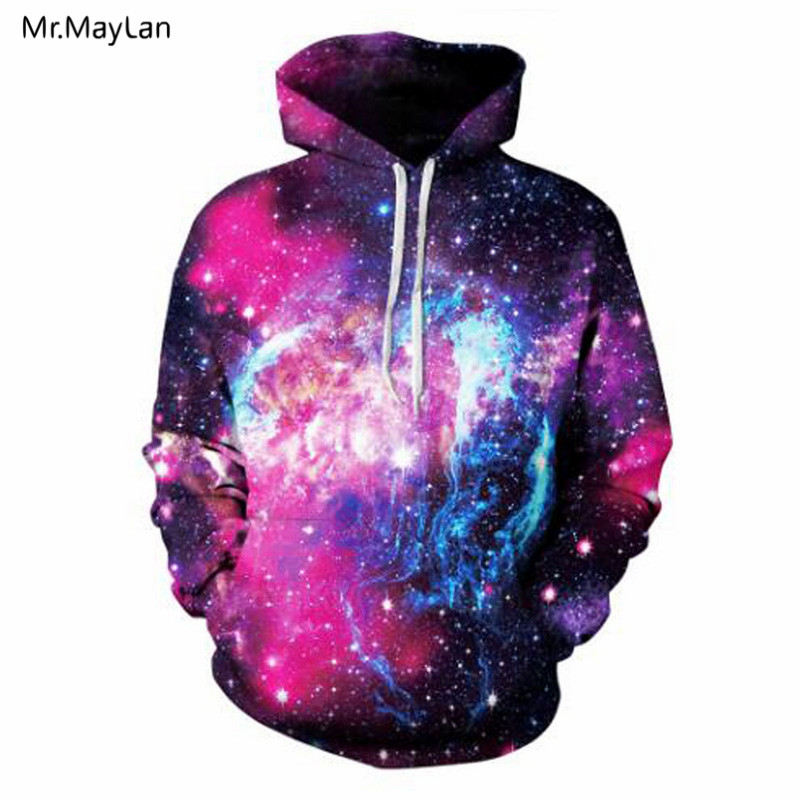 Hipster Multi-colors Galaxy Space 3D Print Hoodies Unisex Men/Women Hiphop Hat Sweatshirts Boys Fashion Warm Jackets Clothing