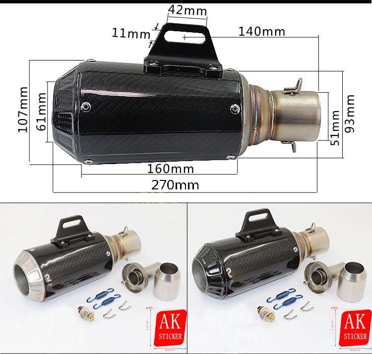 Universal 51mm Motorcycle Exhaust pipe Carbon Fibre Muffler For Honda CBR250 CBR400 CBR600 CB250 CB400 CB600 CB1300 VFR800 CB125 l r pillion foot peg for honda c70 ct90 cb125 cb200 cg110 cg125 jx110 jx125 xl250 xl350