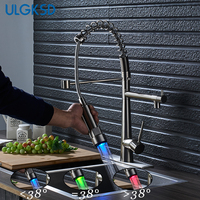 ULGKSD Kitchen Faucet LED Sprayer Nozzle Deck Mounted Sink Mixer Tap Cold And Hot Water Brass