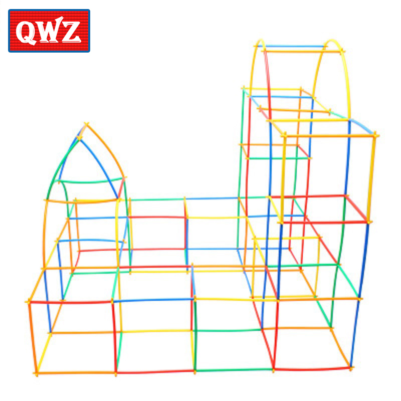 QWZ 100pcs 4D DIY Plastic Toys Straw Fight Inserted Construction Building Kits Assembly Toys Blocks Brick Christmas Gift For Kid without original box bang bao fight inserted building blocks toys concrete mixing small particles base 8531 808pcs abs plastic