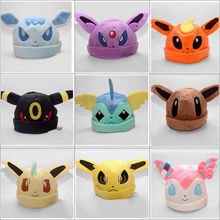 Leafeon cartoon halloween Anime Pokemon go ash ketchum Umbreon Soft Plush Toy Baseball Cap Warm Beanie Costume Hat Cosplay gift