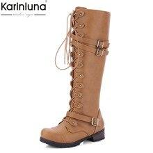 6a42c09cd KarinLuna 2018 Tamanhos Plus 33-43 Dropship Cadarço Mulheres Sapatos Mulher  Botas de Montaria de