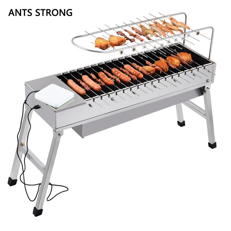 FOURMIS FORTE ménage usb électrique de charbon de bois grill/Automatique flip barbecue poêle avec dédié fourchette en acier inoxydable BARBECUE grillades